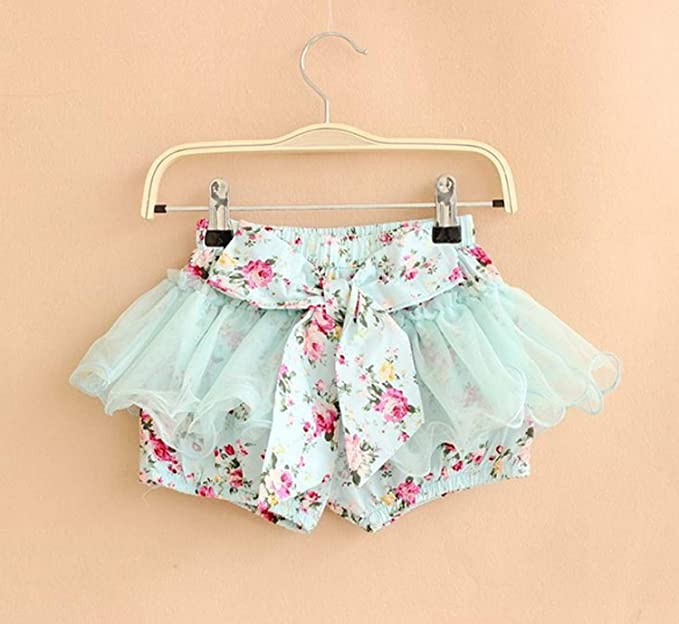 Minetom Summer Baby Girls Kids Princess Flower Print Bowknot Shorts Cute  Party Mesh Short Culottes: Amazon.co.uk: Clothing