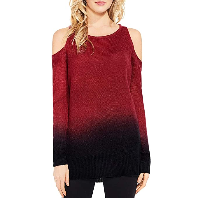 9df2ccfe897 Two by Vince Camuto Women s Long Sleeve Cold Shoulder Dip-Dyed Tunic Russet  Red X