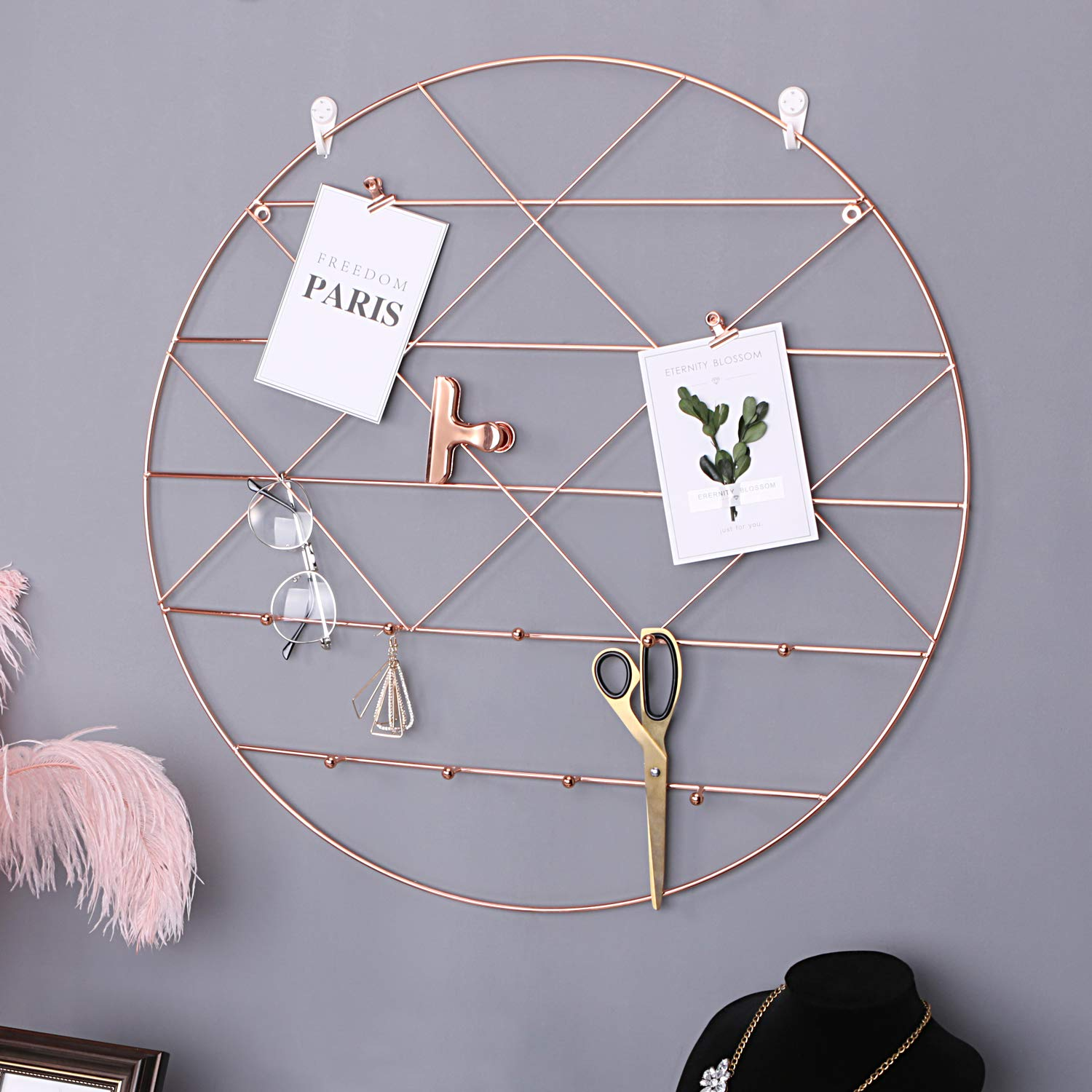Simmer Stone Round Wall Grid Panel for Photo Hanging Display & Wall Decoration Organizer, Multi-Functional Wall Storage Display Grid with Hook, Size 23.6'' x 23.6'', Rose Gold