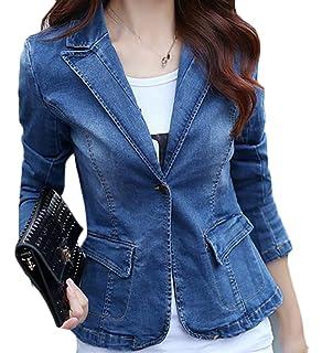 Papijam Womens Slim Fit Faded Lapel One Button Blazer Coat Denim Jacket 5545320d59