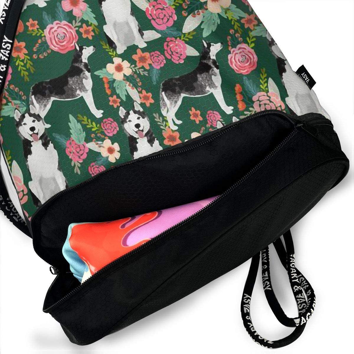 Drawstring Backpack Bull Terrier Floral Flowers Bull Pattern Gym Bag