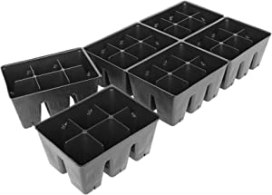 Handy Pantry Black Plastic Garden Tray Inserts - 10 Sheets of 36 Planting Pot Cells Each - 2x3 Nested x6 Configuration - Perforated - Nursery, Greenhouse, Gardening