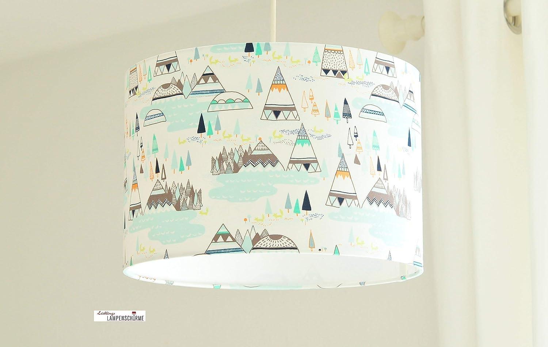 Lampe fü rs Kinderzimmer und Babys mit Zelten und Bergen aus Baumwolle