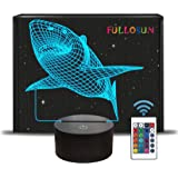 FULLOSUN 3D Shark Illusion Lamp, Animals Night Light with Remote Control Optical Touch 16 Color Changing Desk Lamps Kids…