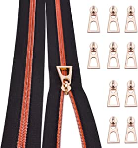 Nylon Coil Zippers by The Yard #5-Long Zippers for Sewing Red Metallic Teeth Black Tape 5 Yard with 10PCS Rainbow Slider-VOC Zipper for Tailor Crafts(Black Tape)