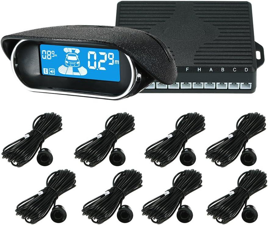 KKmoon Sensor de Aparcamiento, Coche Vehículo Reverse Backup Sistema de Radar con Pantalla LED de 8 Sensores Asistente de Aparcamiento