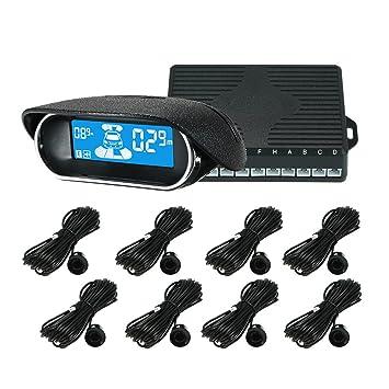 KKmoon Sensor de Aparcamiento, Coche Vehículo Reverse Backup Sistema de Radar con Pantalla LED de 8 Sensores Asistente de Aparcamiento: Amazon.es: Coche y ...