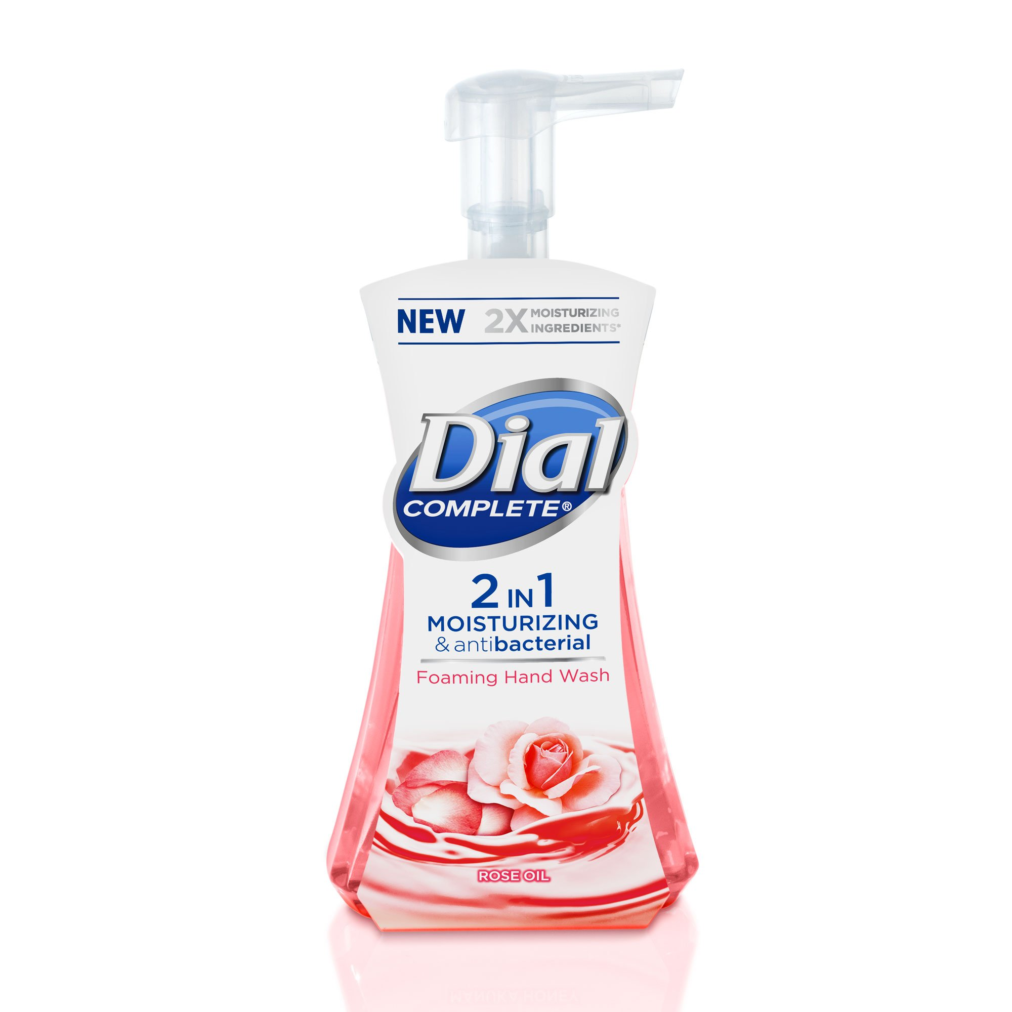 Dial Complete 2 in 1 Moisturizing & Antibacterial Foaming Hand Wash, Rose Oil, 7.5 Ounce