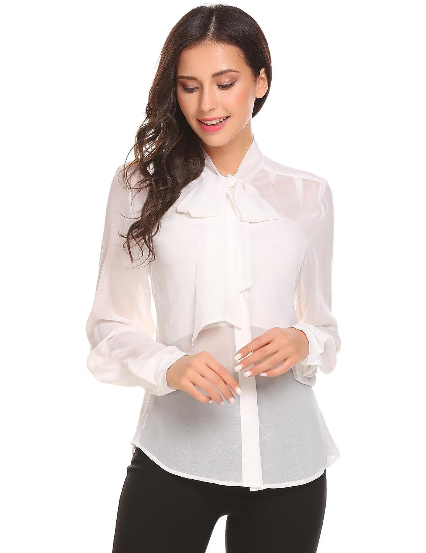 Zeagoo Women's Casual Sheer Chiffon Bow Tie Neck Long Sleeve Blouse Solid Tops