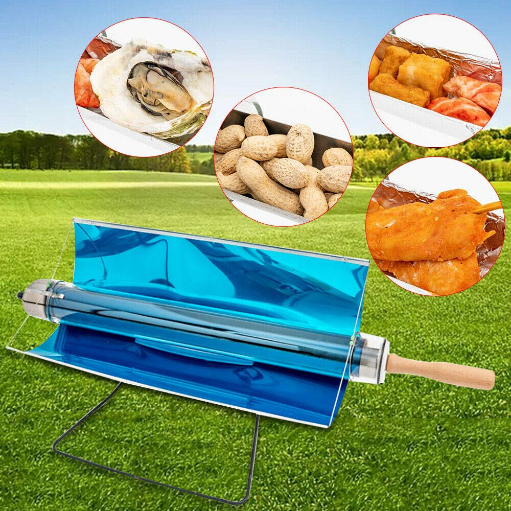 RanBB Portable Solar Cooker BBQ Stove, Free Unlimited Energy Cooking Stove Grill Kit for BBQ Camping Outdoor
