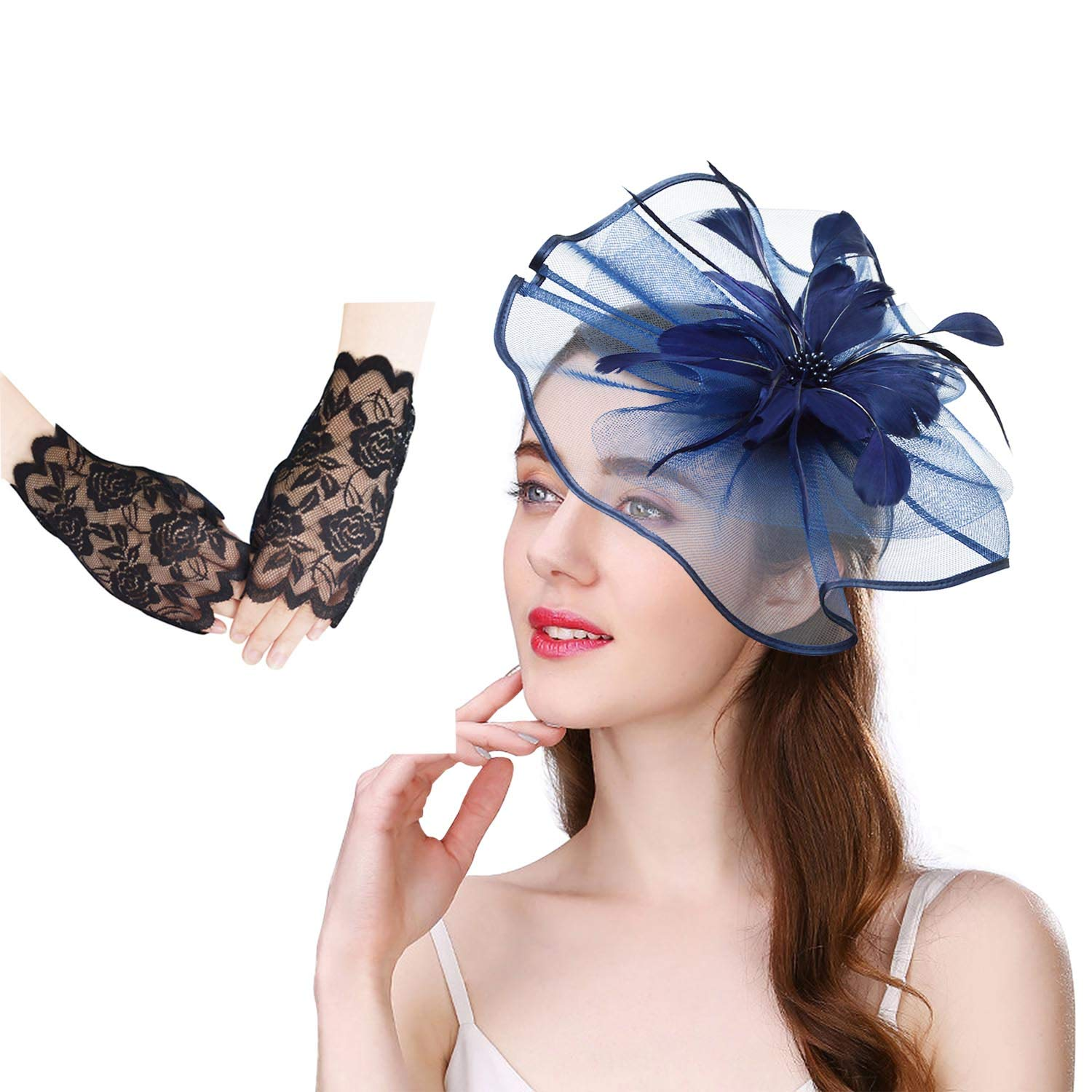 U-Zomir Fascinator Hat Feather Mesh Party Hat Flower Wedding Derby Cocktail Tea Party Headband with Clip and Lace Glove for Girls and Women (Style 1-Navy)