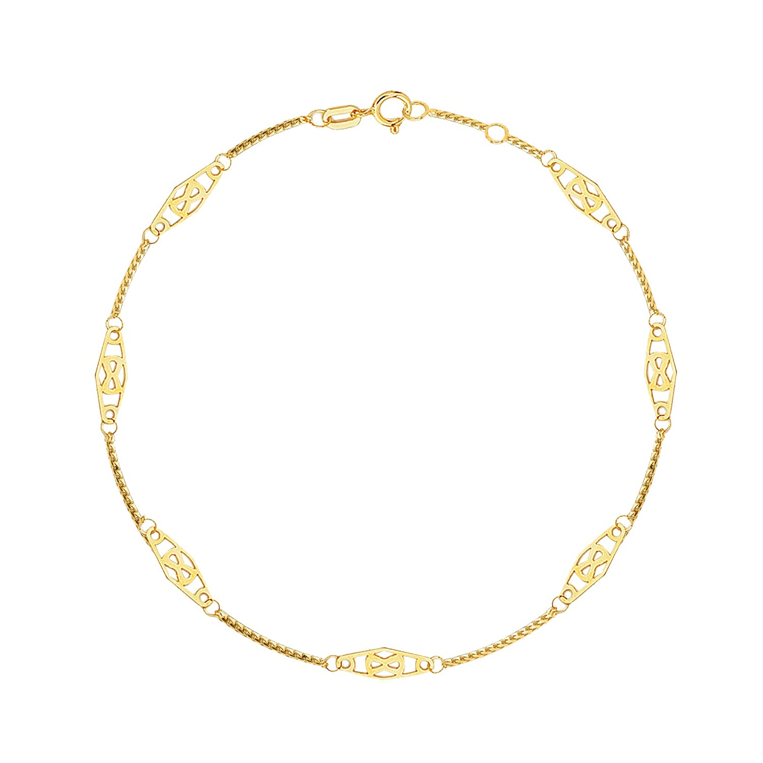 14K Solid Yellow Gold Infinity Anklet 10 Inches Ritastephens