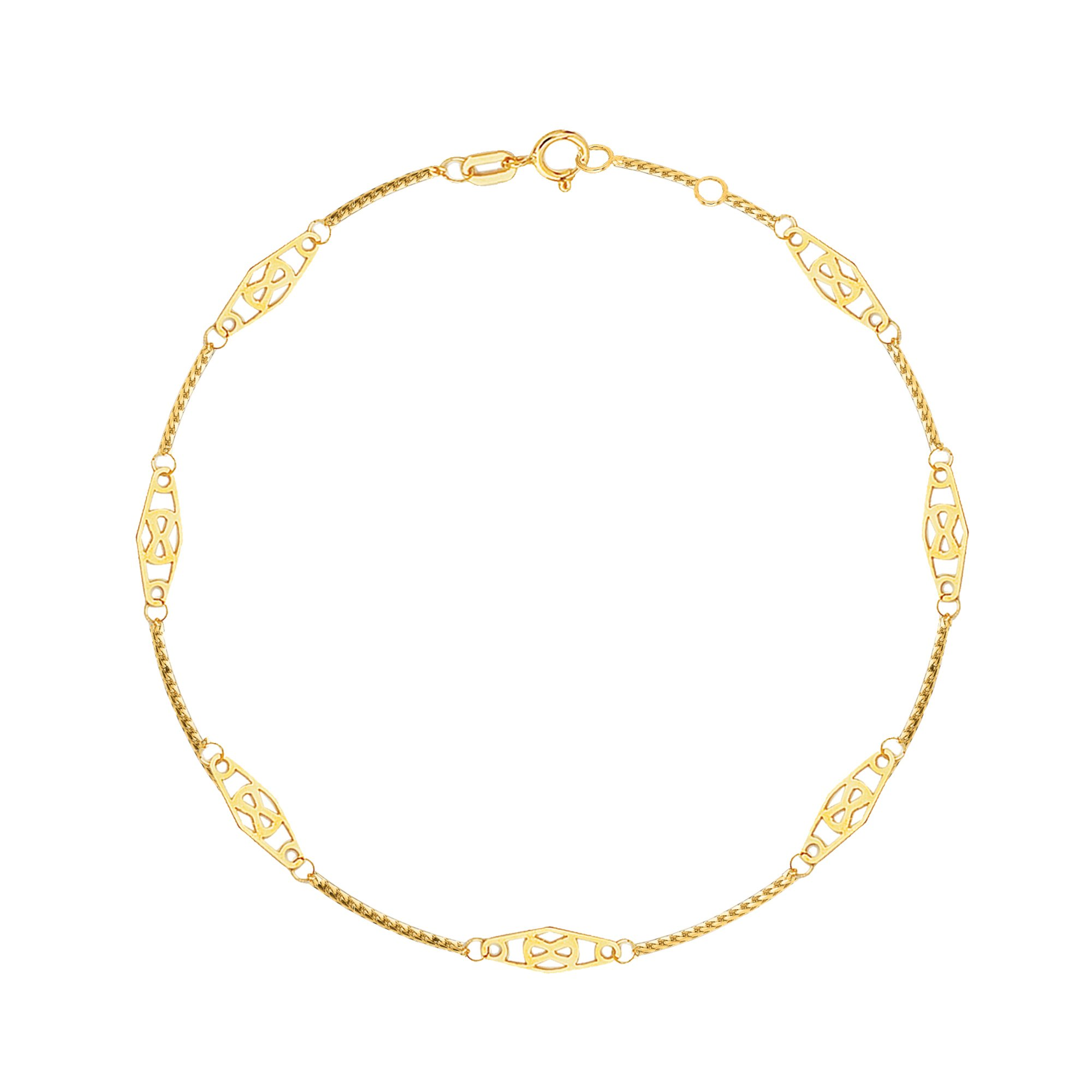 14K Solid Yellow Gold Infinity Anklet 10 Inches