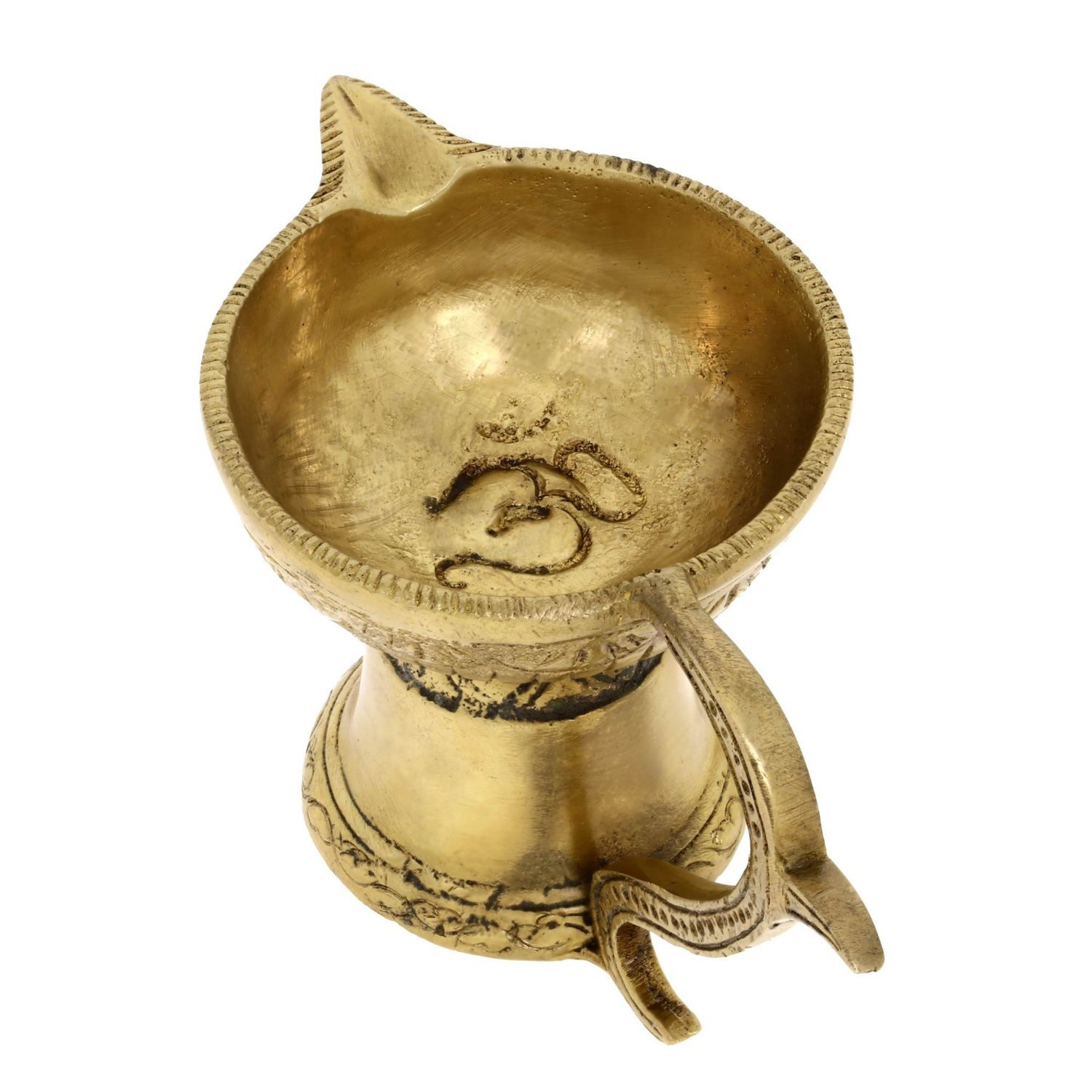 Zap Impex® Brass, Handmade Oil Lamp, Simple Diya with Handle, 12.7 Centimeters