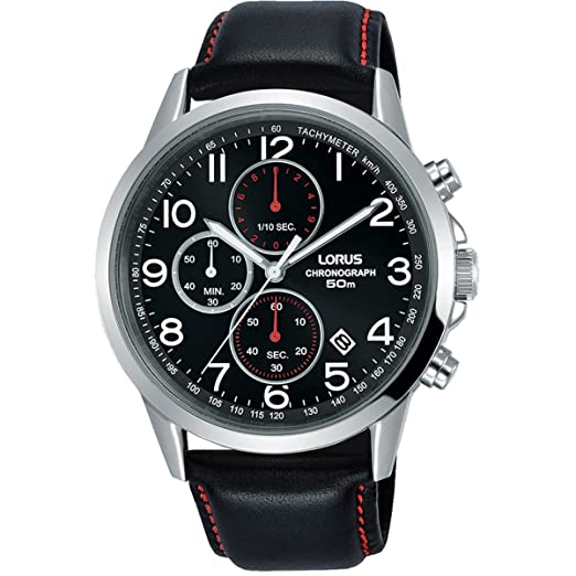 Lorus Mens Chronograph Quartz Watch With Leather Strap Rm369ex8