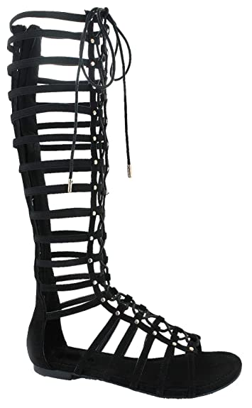 ba7e4e81f718 DbDk Carling 3 Womens Knee High Flat Caged Gladiator Sandals Black 7