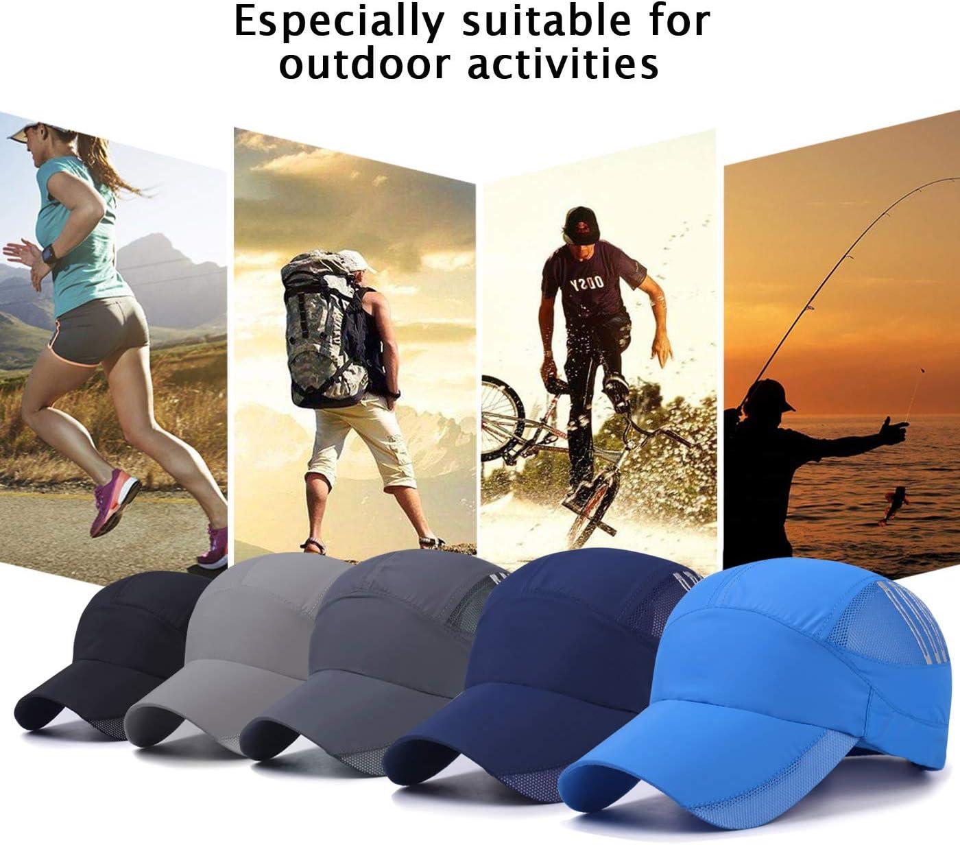 Radfahren usw Joggen Bergsteigen AIEOE Schnelltrocknend Snapback Cap Sommer Kappe Atmungsaktive Sport Caps Outdoor Sonnen-Kappe f/ür Wandern