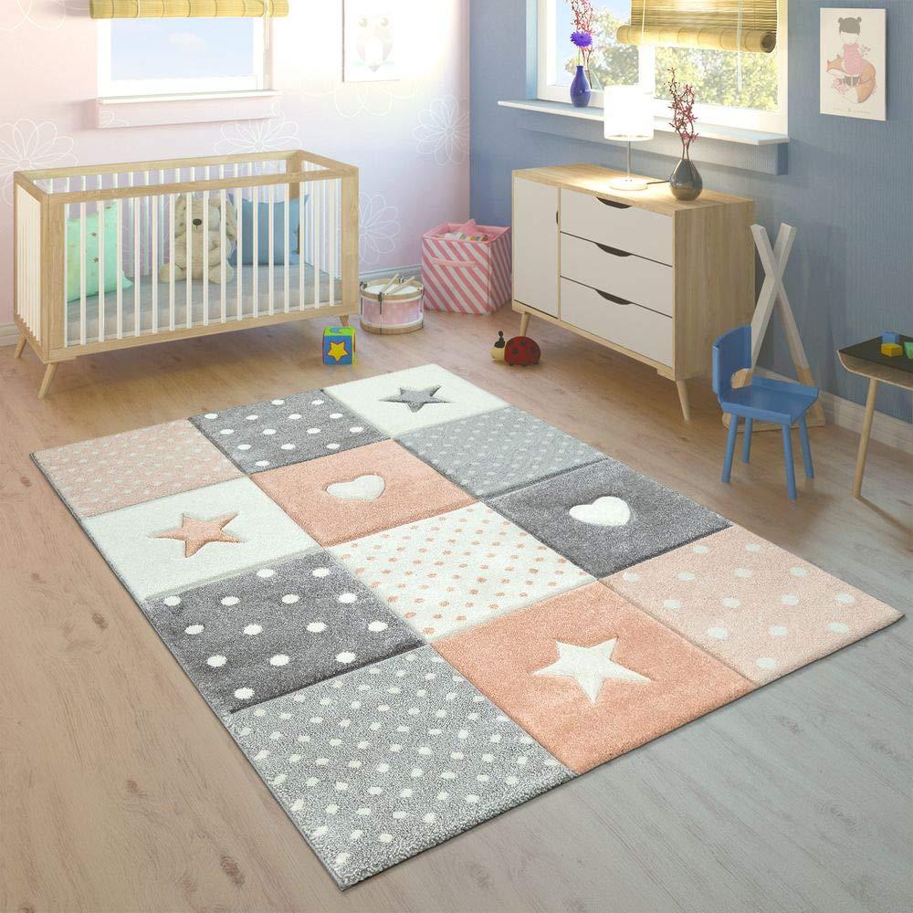Paco Home Kinderteppich Kinderzimmer Kariert Punkte Herzen Sterne In Pastell Apricot Grau, Grösse:160x230 cm