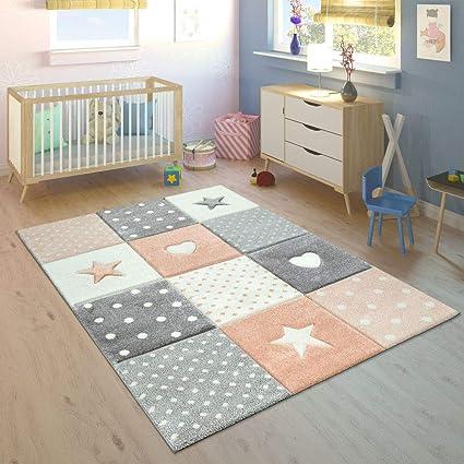 Paco Home Tapis Enfant Chambre Enfant Pois Coeurs Étoiles Pastel Tailles Et  Coloris Variés, Dimension:80x150 cm, Couleur:Orange