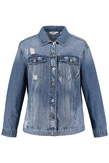 52857d6d71c Studio Untold Women s Plus Size Oversized Distressed Denim Jacket 719586   Studio Untold  Amazon.co.uk  Clothing