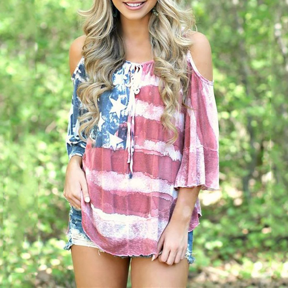 July 4th Womens American Flag Print Loose Strap Off Shoulder T-Shirt Shirt Large Size