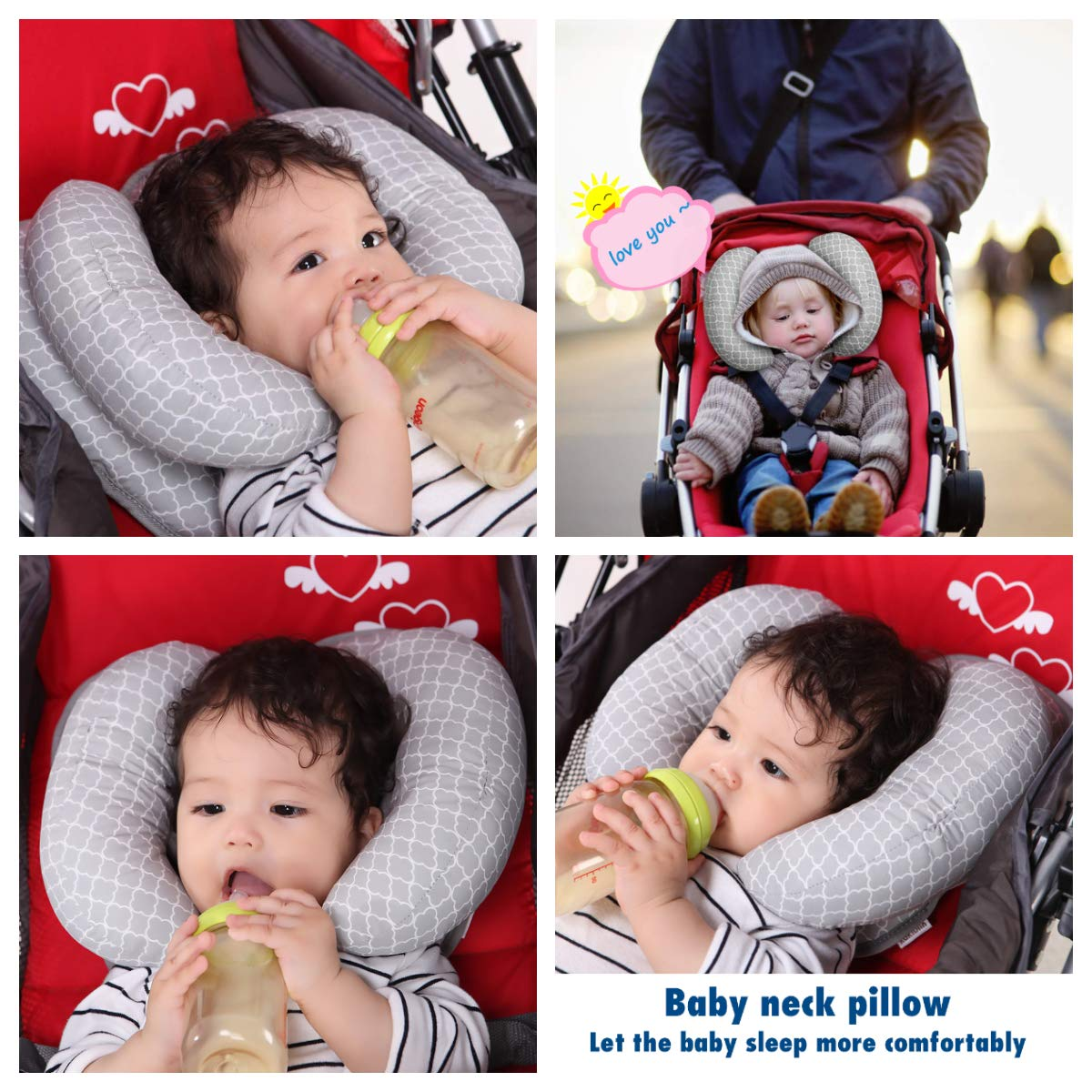 Adjustable Baby Soft Head Neck Support Children Toddlers Travel Car Seat Pillow