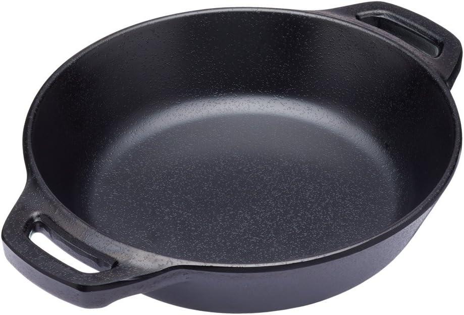 Kitchencraft Mini fundido iron-look servir olla con asas, 15cm (6')–Fuente de horno (estilo redondo, melamina, negro, 19,5x 15x 3,5cm