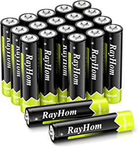 RayHom AAA Rechargeable Batteries 1100mAh Ni-MH Battery (20 Pack)