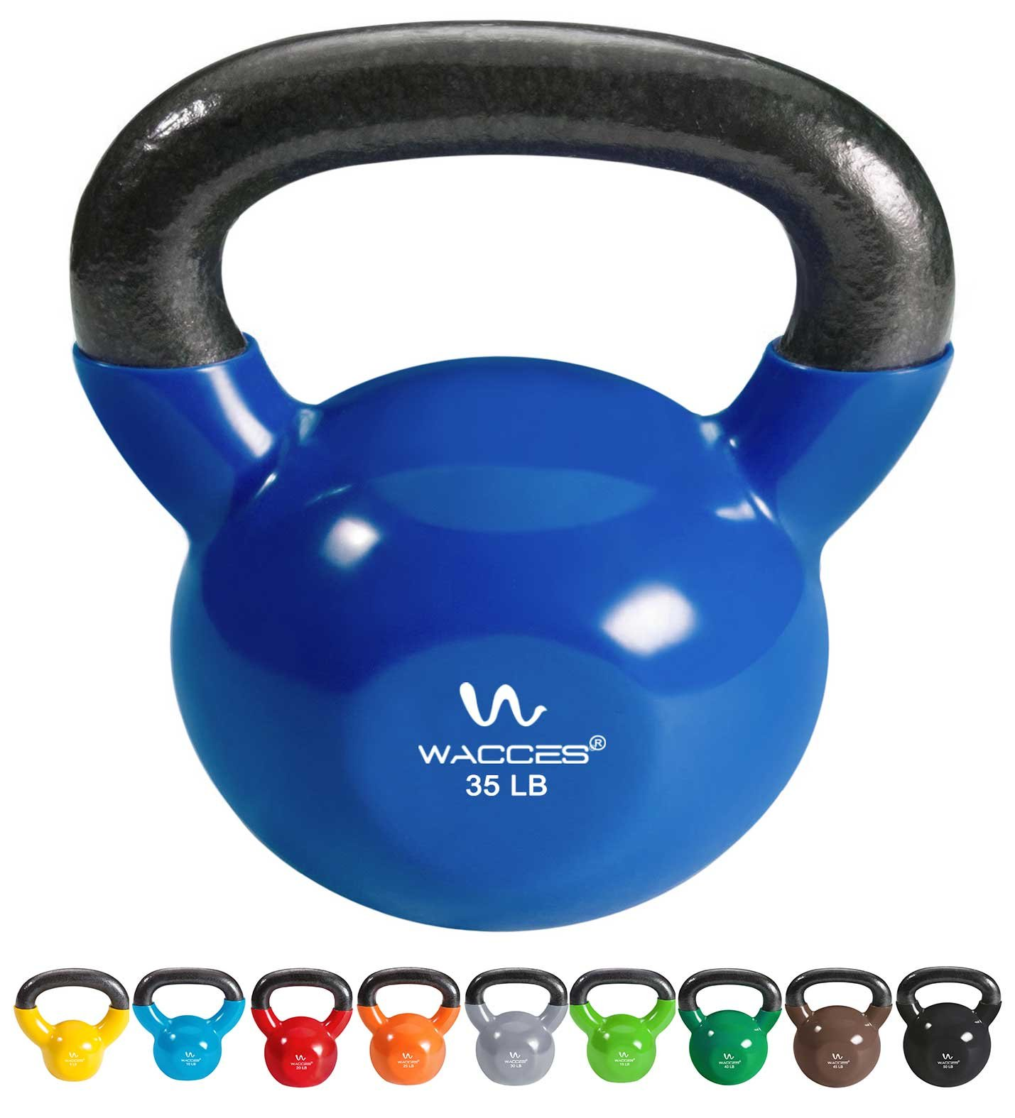 Wacces Single Vinyl Dipped Kettlebell for Croos Training, Home Exercise, Workout 35LB