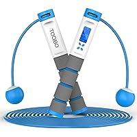 TOQIBO Springtouw met digitale teller, Speed Rope verstelbare digitale draadloze touwspringen met calorieënteller en…