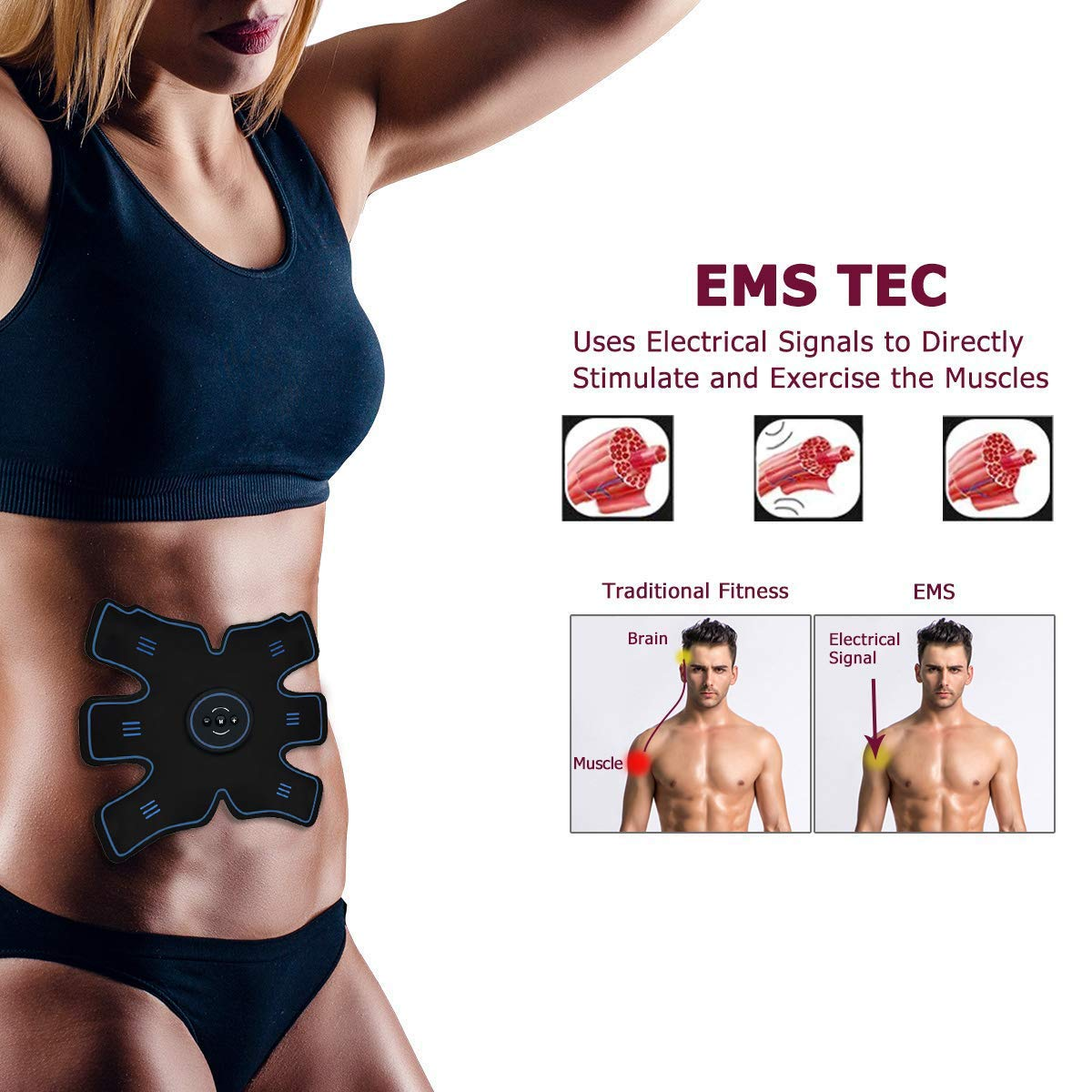 YUCEN ABS Stimulator Abs Stimulating Belt Muscle Toner Training Device for Muscles- Wireless Portable to-Go Gym Device- Muscle Sculpting at Home- Fitness Equipment for at-Home Workouts YUCHEEN