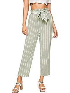 7b6098e2717ca7 SweatyRocks Women's Striped Elastic High Waist Slim Fit Loose Casual ...