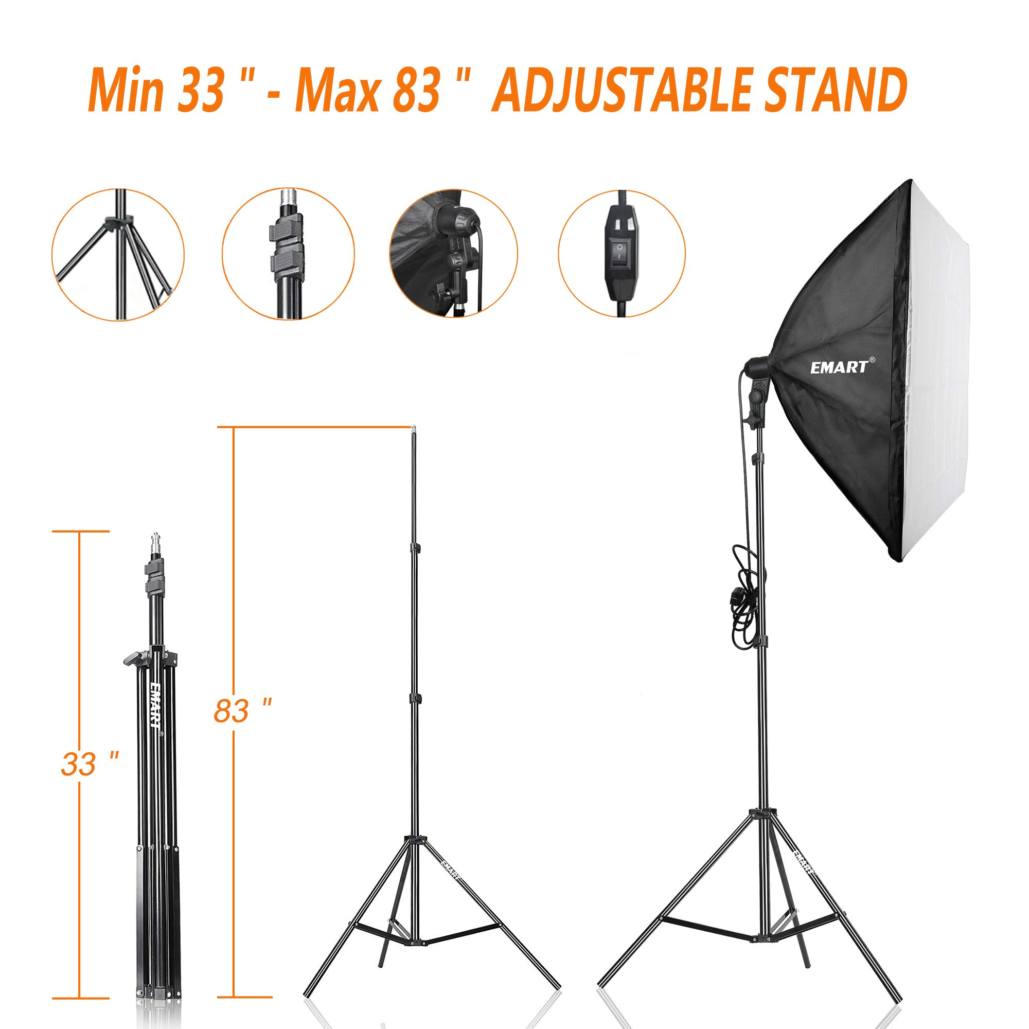 Emart 900W Softbox Lighting Kit Photography Continuous Photo Studio Light System for YouTube Video Shooting Soft Box 24'' x 24'' by EMART (Image #5)