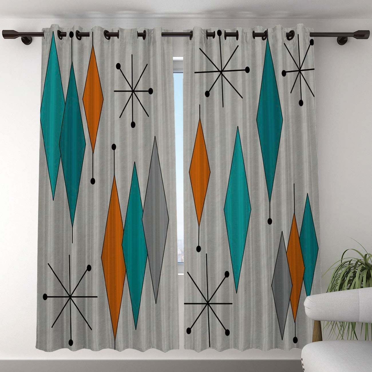 T H Home Blackout Curtain for Bedroom – 96 inch Long Darkening Draperies Curtains – Mid-Century Modern Diamond Pattern Window Treatment Curtain Drapes for Living Room Diningroom