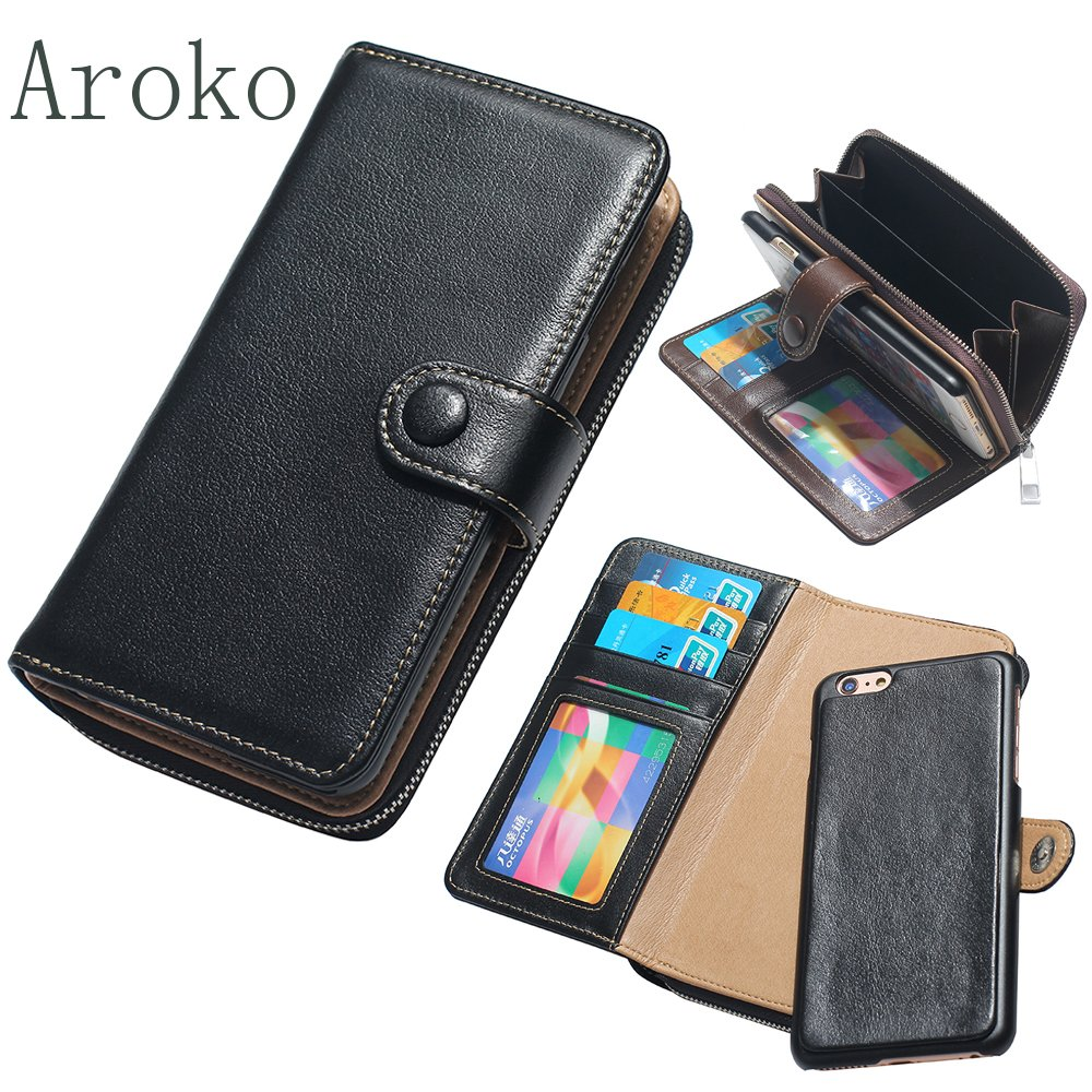 Aroko iPhone 7plus Genuine Leather Wallet Case, Handmade Leather Wallet Cover Case, Cover Zipper Wallet Card Multifunction for iPhone 7plus 5.5 inch