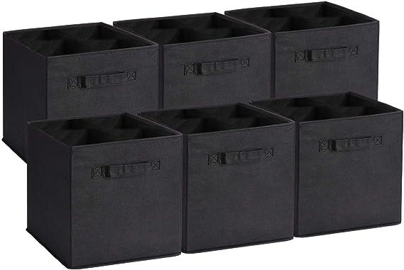 UMI. by Amazon - Cubos de Almacenaje de Tela, Cajas de Almacenaje Plegables, Set de 6 Cajas de Almacenamiento, Cubos de Almacenaje sin Tapa para Hogar Oficina, Negro, 26,7 x 26,7 x