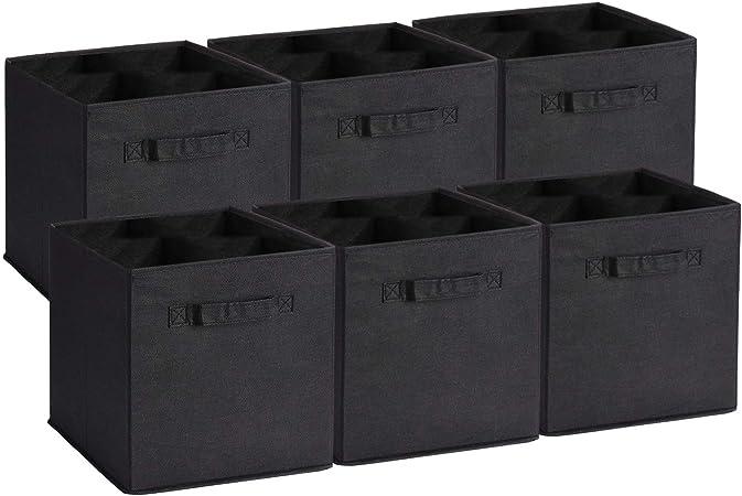 UMI. by Amazon - Cubos de Almacenaje de Tela, Cajas de Almacenaje Plegables, Set de 6 Cajas