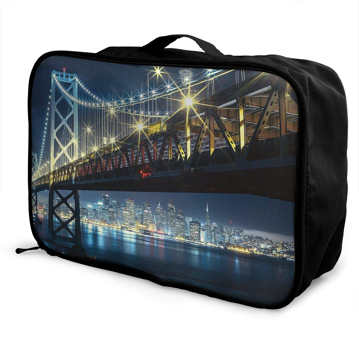 Travel Luggage Duffle Bag Lightweight Portable Handbag Bridge Pattern Large Capacity Waterproof Foldable Storage Tote