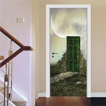 Merveilleux Fefre The Moon Of The Lone Door Door Decals Home Decor 3D Wall  Stickers,77x200cm