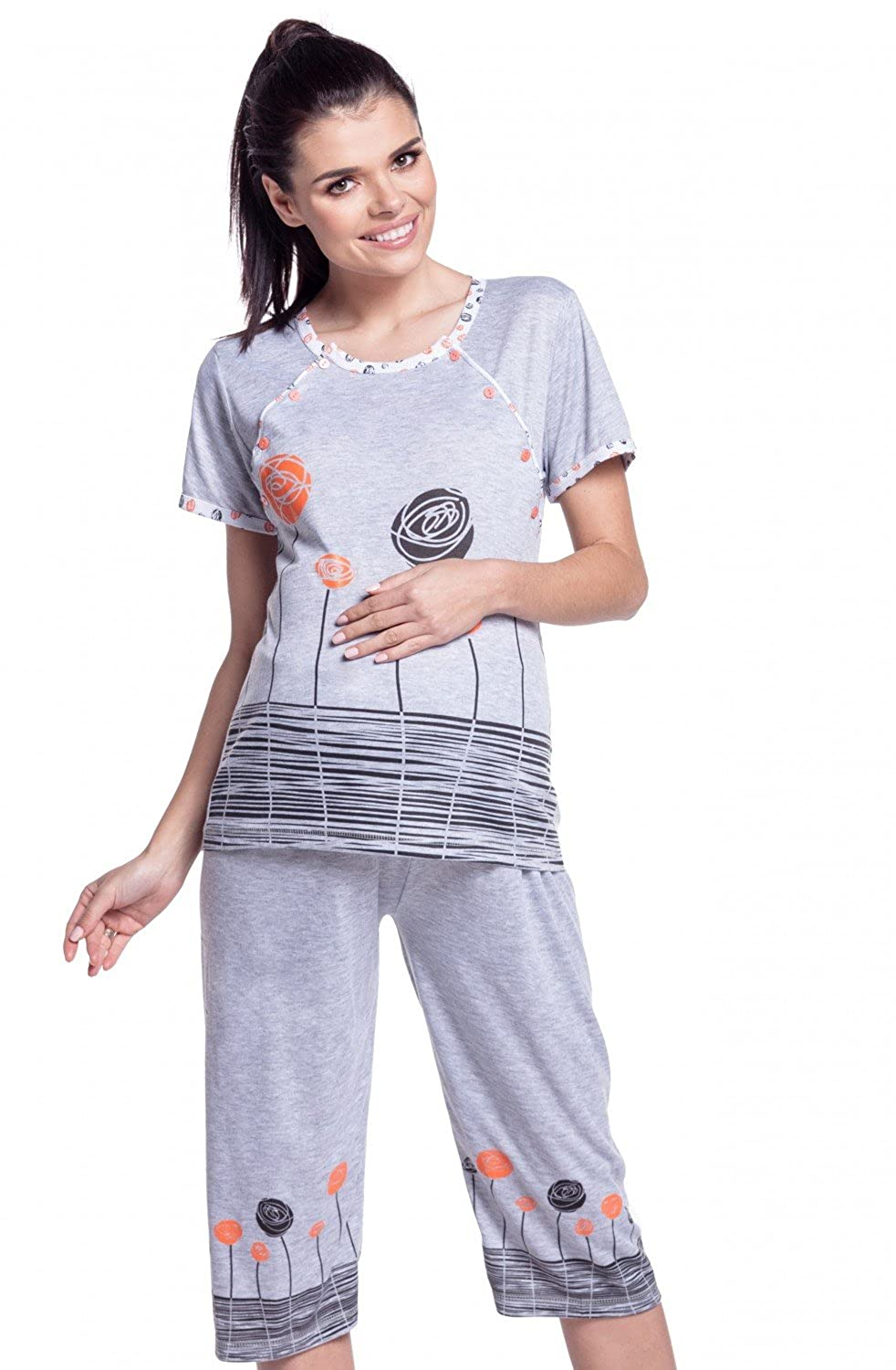 Zeta Ville - Womens Maternity Nursing Pyjamas Flowers Print Pregnancy - 174c US 4 M) nursing_night_174_5