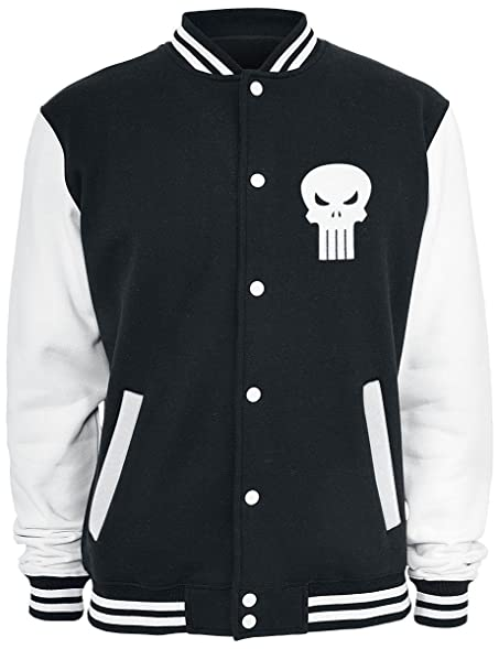 The Punisher Logo College Jacket black-white: Amazon.co.uk: Clothing