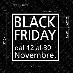Gigio Store Vetrofania Black Friday - Misure 60x60 cm - Stickers, Decal, Adesivi Decorazione Vetrine Negozi Black Friday