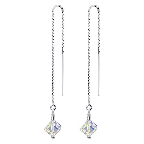 f50c60f10 Amazon.com: 925 Sterling Silver Clear AB Threader String Dangle Earrings  Handmade with Swarovski Crystals: Swarovski Cube Earrings: Jewelry