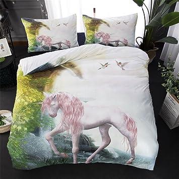 Onlyway Einhorn Bettbezug Sets Bedruckte Bettwäsche Sets Weiche