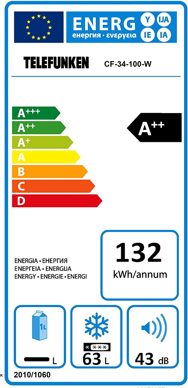 Telefunken CF de 34 – 100 de W Congelador/A + +/82,1 cm 132 kWh/63 ...