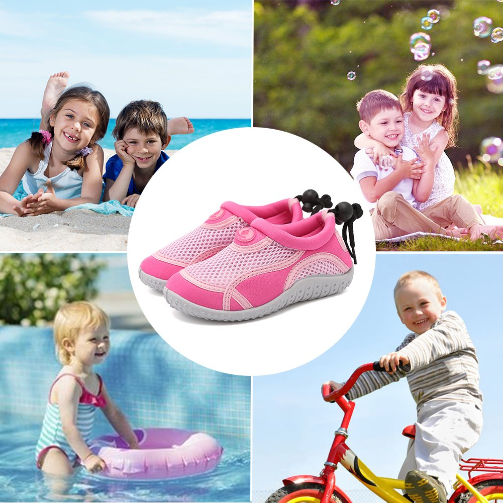 CIOR Toddlers Water Shoes Aqua Socks Athletic Swim Pool Beach Sports Quick Drying for Baby Boys and Girls(Toddler/Little Kid/Big Kid),TD397,01pink,22 by CIOR (Image #6)