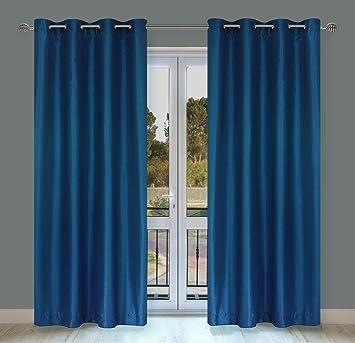 Silkana Faux Silk Grommet Curtain Panels (Set Of 2) 56x88 In, Cobalt