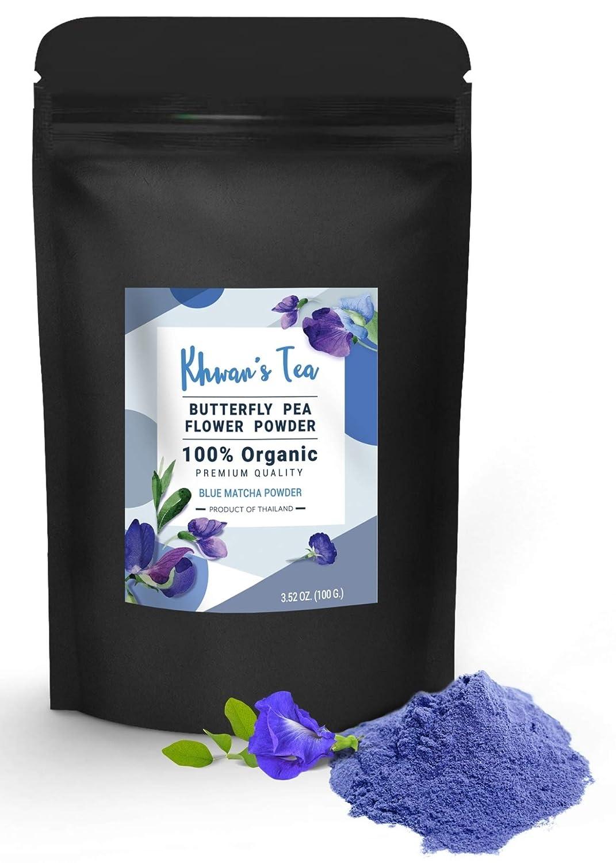KHWAN'S TEA Butterfly Pea Flower Powder Premium Quality Blue Matcha Powder Tea, Culinary Grade Natural Food Coloring Powder Extract, Authentic Thai Origin 3.5 Oz(100g)
