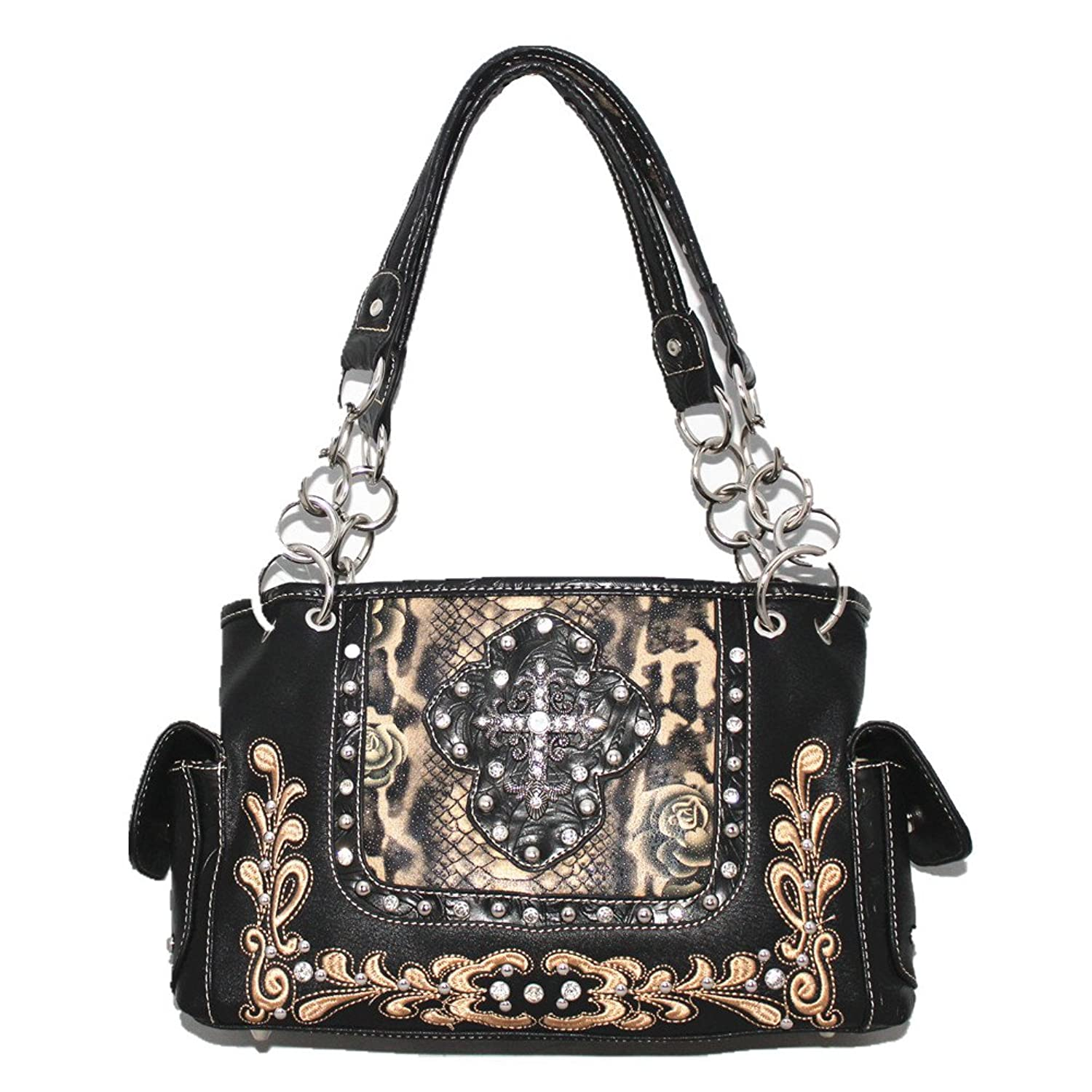 Rhinestone Cross Flower Leather Shoulder Handbag Purse in Red Pink and Black 0602