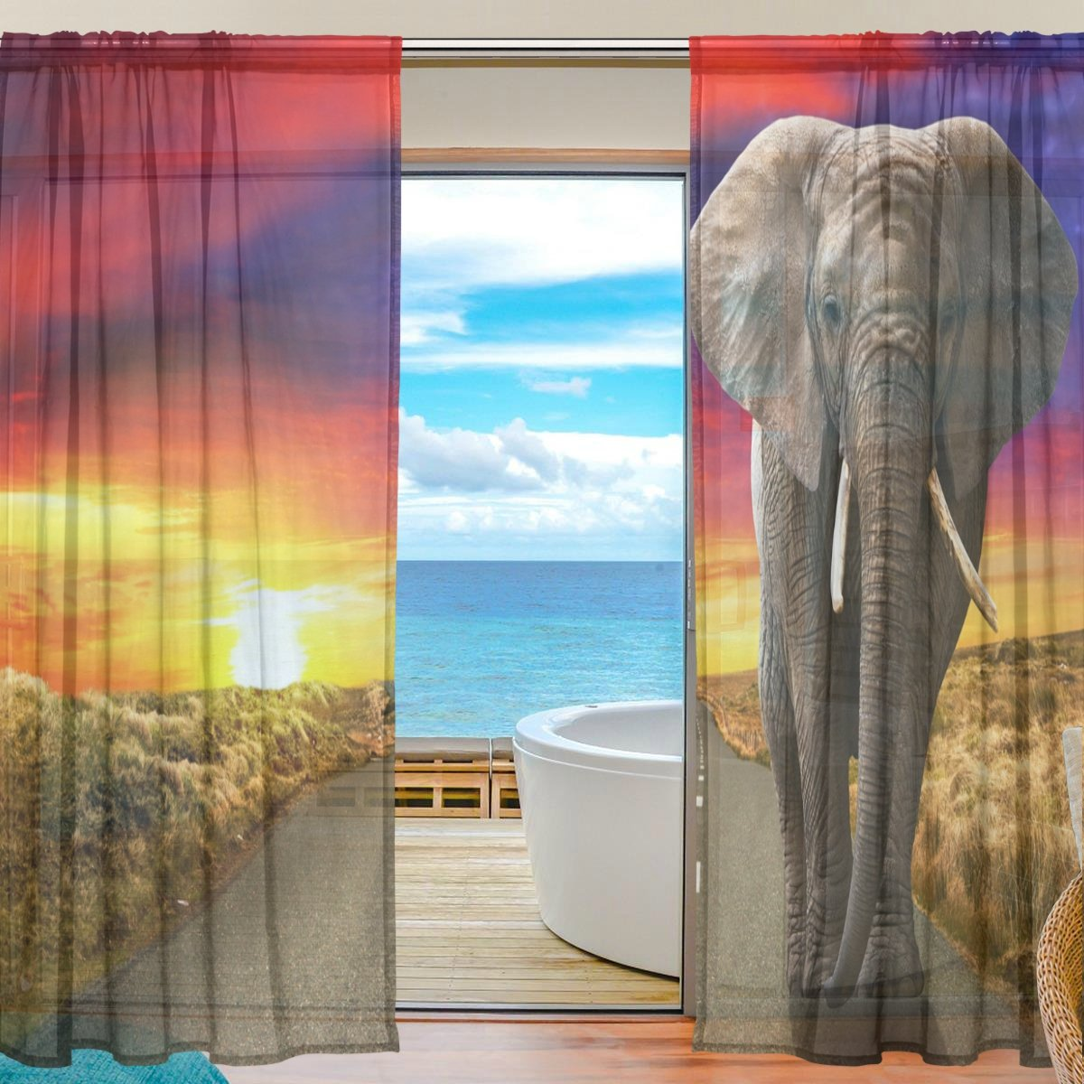 SEULIFE Window Sheer Curtain, African Animal Elephant Sunset Voile Curtain Drapes for Door Kitchen Living Room Bedroom 55x78 inches 2 Panels